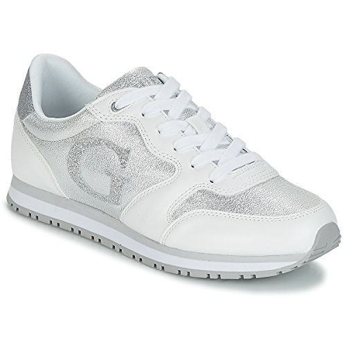 MOD Guess RUNNING DS18GU05 SCARPE COL JOHNNY2 DONNA SNEAKER GLITTER WHITE Bianco xfpIf