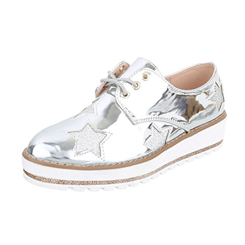 Femme Silber Ital À Chaussures Lacets design 1wZIf4nqxA