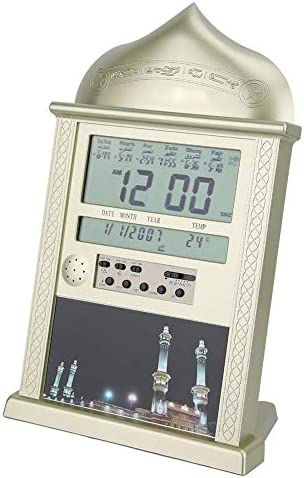 Strnek Azan Clock, Led Prayer Clock Wall Clock Read Digital Clock Music Playing Gift Islamic Mosque Prayer Clock Home Office Decorative Gold