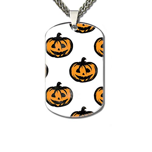 (PANQJN Halloween Pumpkins Pet Necklace ID Tag Dog and Cat Personalized  Many Pattern to Choose)