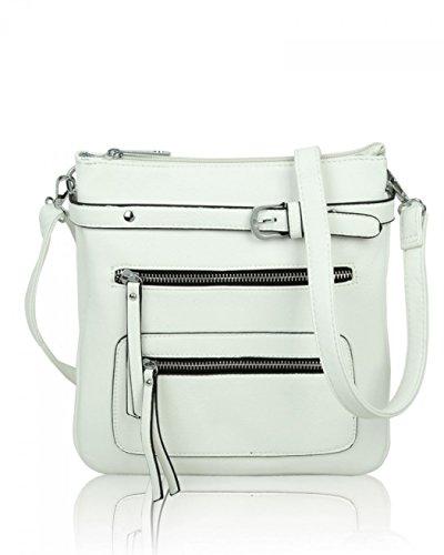 Zipper Bag Cross Faux Nice Leather Body Handbags Quality Fashion Women's White Genuine Front Leahward Great Designer Bags TFqpWxB