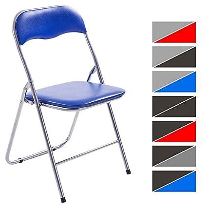 CLP Silla Plegable Felix con Estructura de Metal I Silla de Conferencia Acolchada I Silla de Eventos Plegable I Color: Azul/Plateado