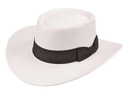 [Men's Gambler Hat with Band White (Medium)] (Pimp Hat With Feather)
