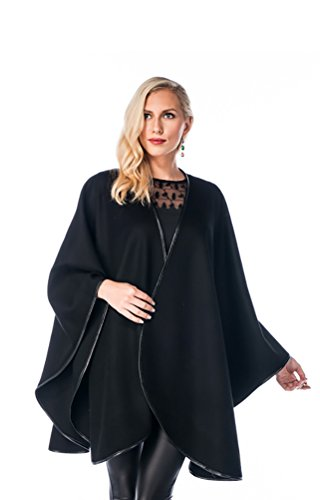 Madison Avenue Mall Black Cashmere Cape for Women - Leather Trimmed