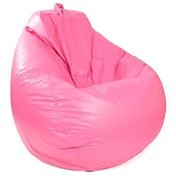 Gold Medal Bean Bags 30011246822TD Large Leather Look Tear Drop Bean Bag, Hot Pink