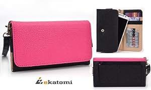 [Metro] HOT PINK & BLACK | Universal Women's Wallet Wrist-let Clutch for LG Connect 4G MS840 Phone Case. Bonus Ekatomi Screen Cleaner