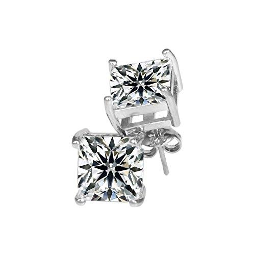 [ROFIFY Silver Plated Cubic Zirconia Womens Jewelry Princess Stud Earrings FJ035] (Girls Jade Princess Costumes)