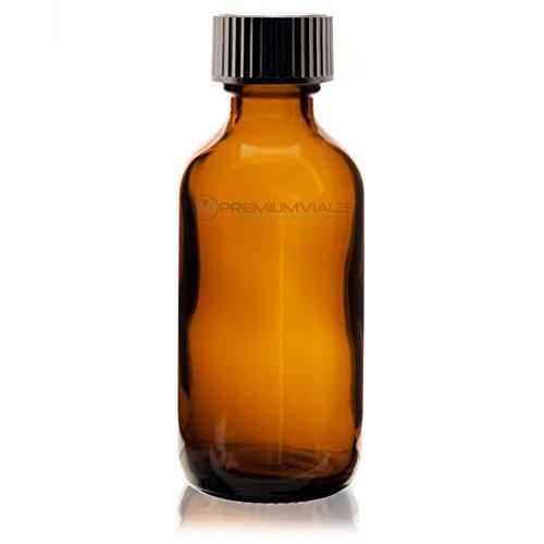 Amber Premium Vials 2ozPETABRDC12-ZT 2 Oz Plastic PET Boston Round Bottle Pack of 12 with Disc Cap PremiumVials