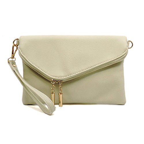 Elphis Evening Bag Envelope Fold Over Clutch Wristlet Purse Chain Cross Body Bag (MJ Beige)