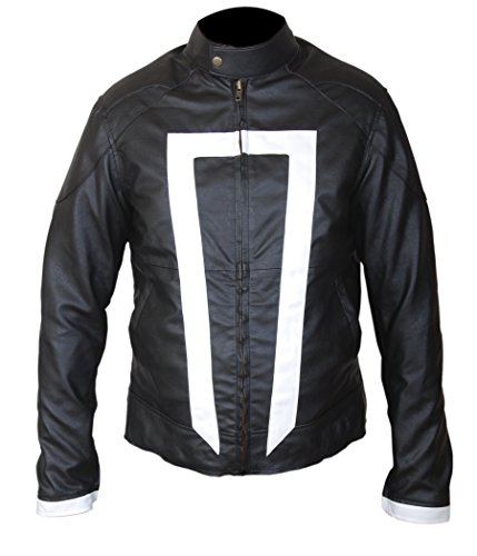 Ghost Rider Costume For Boys (F&H Boy's Gabriel Luna Ghost Rider Genuine Leather Jacket M Black)