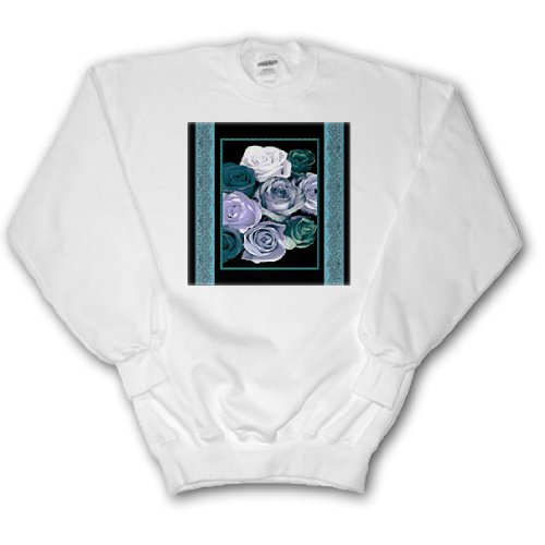 Ribbon Trim Sweater (Dreamy hues of teal and turquoise roses with ocean blue damask ribbon trim - Adult SweatShirt 3XL)