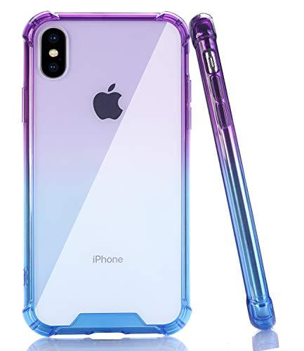 BAISRKE iPhone X Case, Shock-Absorption TPU Soft Edge Bumper Anti-Scratch Rigid Slim Protective Cases Hard Plastic Back Cover for iPhone X iPhone Xs [5.8 inch] - Purple Blue Gradient