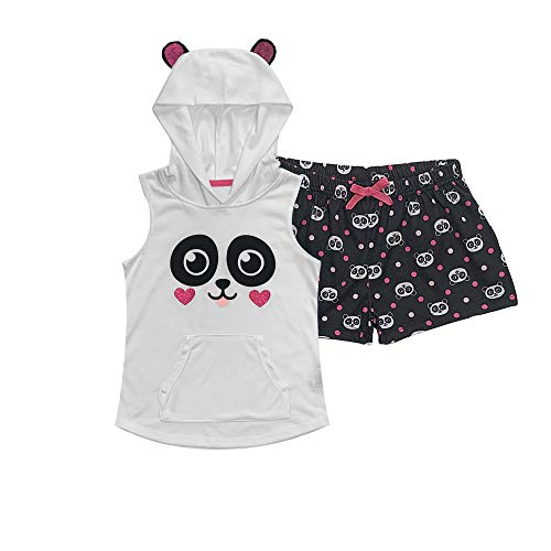 Hooded Top Animal - Popular Girl's Hooded Sleeveless Top and Bottoms - Short Set - Panda - 7/8