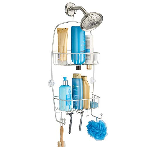 interDesign Raphael Metal Wire Hanging Shower Caddy, Extra Wide Space for Shampoo, Conditioner, and Soap with Hooks for Razors, Towels, and More, 9.5