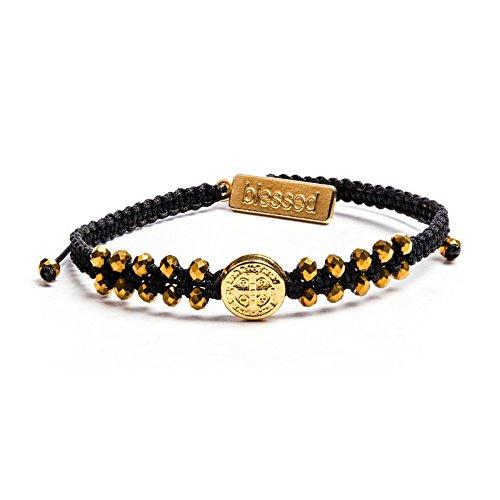Stairway to Heaven Crystal Benedictine Bracelet (Gold/Black) (Mens Black Bracelet Rosary)