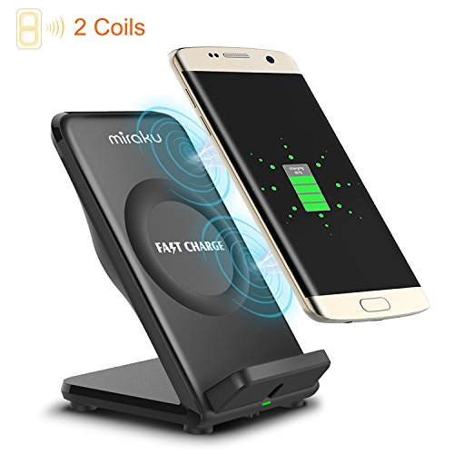 Price comparison product image Qi Fast Wireless Charger-miraku F18 (2017 New Design) 2 Coils Wireless Charging Stand with Anti-Slip Rubber and Cooling Fan for Samsung Galaxy S8, S8 Plus, S7, S7 Edge, S6 Edge Plus, Note 5