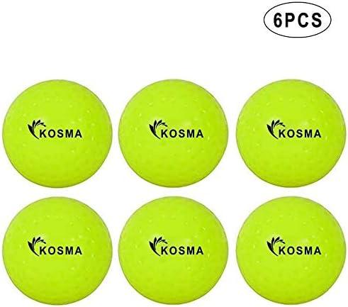 Kosma Lot de 6 balles de hockey en PVC pour sports de plein air Jaune fluo