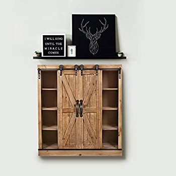 Sliding Barn Door Wall Storage Cabinet Freestanding Console Cabinet Buffet Modern Farmhouse Sideboard Organizer Distressed Furniture Wood Fully Assembled Shabby Chic 29.1 x 12.4 x 31.9 inches (Brown)