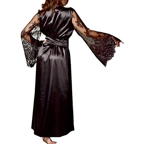Women's Satin Pajamas Long Nightdress Lace Patchwork Nightgown Sleepwear Sexy Robe Black