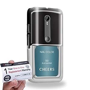 Case88 [Motorola Moto G (3rd gen)] 3D impresa Carcasa/Funda dura para & Tarjeta de garantía - Art 322 Blue Marine Nail Polish