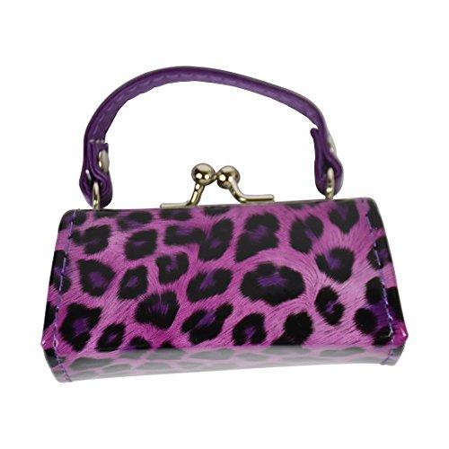 Leopard Colorful Lipstick Case with Handle Mini Purse - Purple