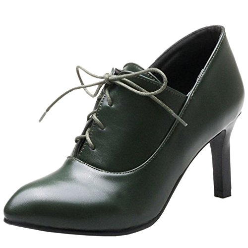 COOLCEPT Women Fashion Stiletto Heel Autumn Ankle Shoes Lace Up Dark Green KN3pbCz5