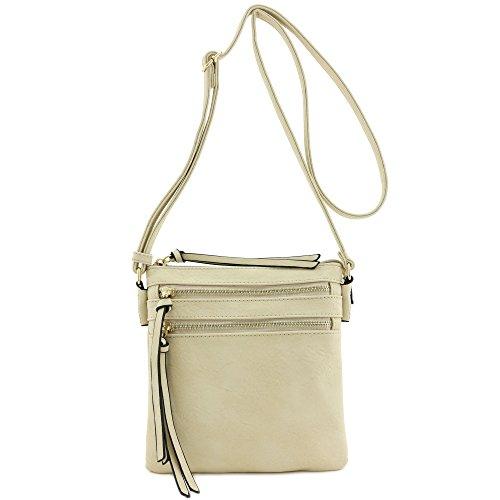 Functional Multi Zip Pocket Crossbody Bag Beige - Multi Pocket Zip