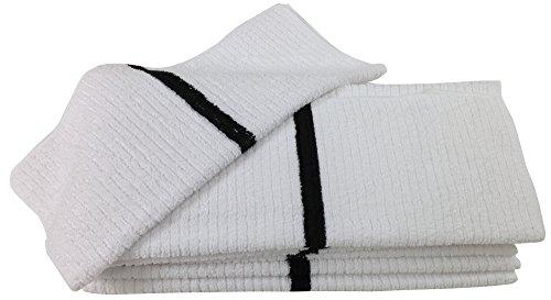 Nouvelle Legende 14 X 18in Ribbed Bar Mop Microfiber Towels (12 Pack) Black Stripe by Nouvelle Legende