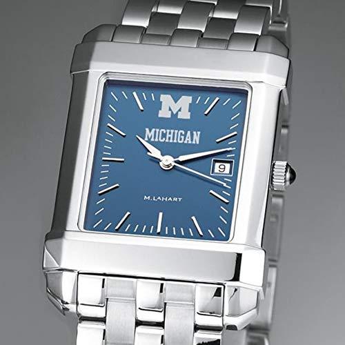 M. LA HART Michigan Men's Blue Quad Watch with Bracelet