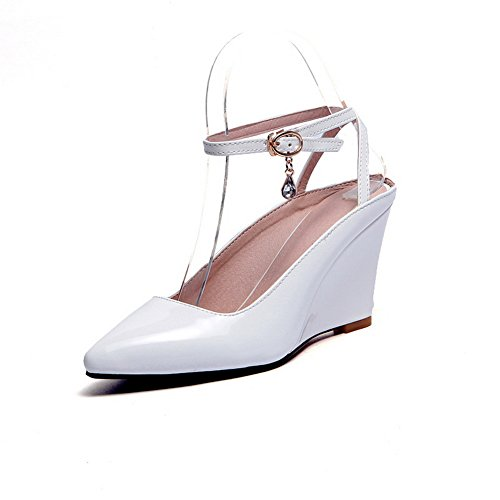 1TO9 Womens High-Heels Studded Rhinestones Metal Buckles Patent Leather Pumps-Shoes White