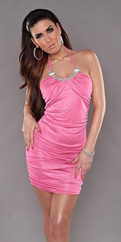 Sexy cuello-Mini vestido, Bikini decorado con diamantes de imitación Koucla by in-estilo de la moda SKU 0000A12 -1183 Rosa