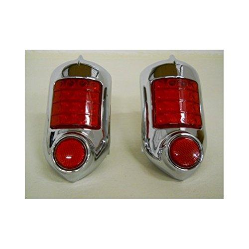(2) 1951 - 1952 Chevy 16 LED Brake Stop Turn Tail Lights / Chrome Metal Housing