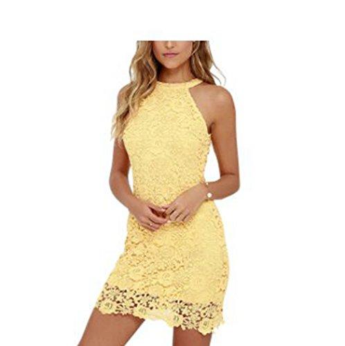 You Star Elegant Wedding Party Sexy Night Club Sleeveless Bodycon Lace Dress Yellow XXL (Plus Size 90s Fancy Dress)