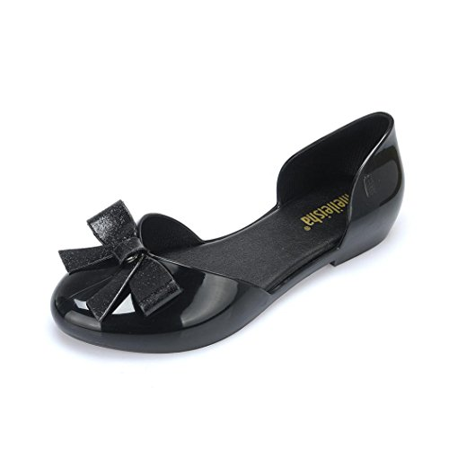 Loafer Slip Shoes On Crystal Slingback Drive Toe Sandals Casual Bow Fheaven Round Flat Women Black 4fvxqwx7