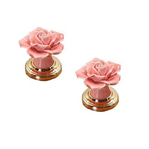 Pink Kids Drawer Knobs - Choubao 2PCS Pink Ceramic Rose Flower Knob With Gold-plated Alloy Base,European Modern Handle for Drawer Dresser Door Cabinet Cupboard Children's Furniture Home Decoration
