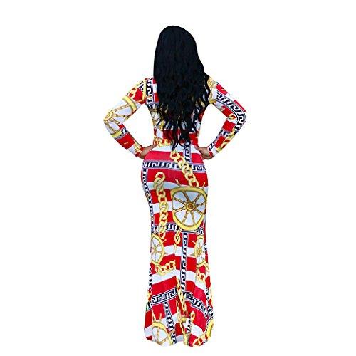 Digital Verano Xl De Mujeres Las color Wang Playa Redondo Tamaño Vestido Sexy A Impresión Vestidos Manga Larga Cuello Largo 4HxqwEzw