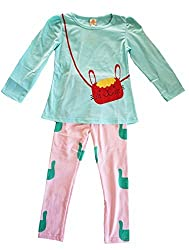 Junior Girl Kids Long Sleeve T-shirt and Pantsuit with Pretty Cat Printed