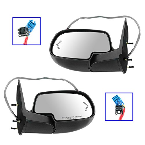 Side View Mirrors Pair Set Power Heated Signal Smooth Cap for Chevy GMC Truck ()