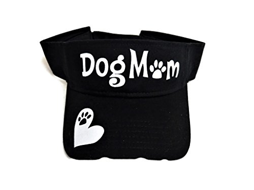 White Glitter Dog Mom Paw Print Black Sun Visor Cap Hat Pet (Print Dog Visor)