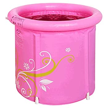 Pink Printed Folding Bathtub, Thickened Adult Inflatable Bathtub (Size : A)