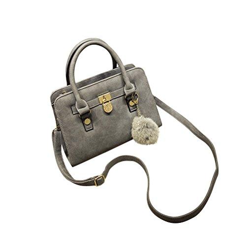 BESTOYARD Pu-leder Umhängetasche Totes Handtasche Schultertasche Cross-Body Casual Satchel Einfache Design für Frauen Mädchen Dame (grau)