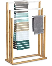 Relaxdays Bamboe h x b x d: ca. 82 x 54 x 24 cm trapvormige handdoekhouder met 3 handdoekstangen als elegant badkameraccessoire voor handdoeken in natuurlijke stijl, natuurlijke handdoekenrek, wit