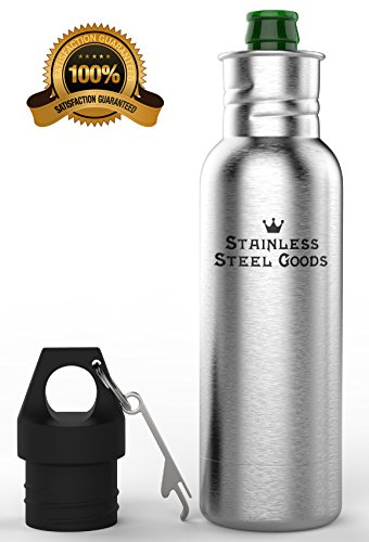 Stainless Steel Goods - Beer Bottle Cooler - Metal Bottle Keeper - Bottle Insulator with Opener - Perfect Birthday Gift for Him or Her - Portable, Easy to Use, Coolie Keeps Beer Ice Cold