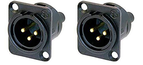 (2 Pack) Neutrik NC3MD-S-1-B XLR Neutrik Black/Gold Chassis Panel Screw Terminal