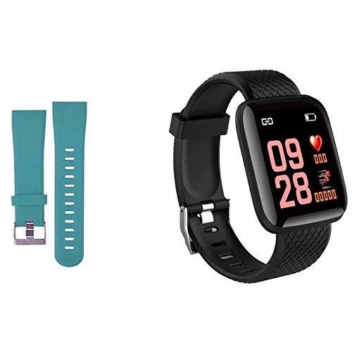 Smartwatch Fitness Armband Voll Touchscreen Wasserdicht, Unisex Smart Watch für Android IOS, Fitness Uhr mit Pulsmesser Schlafmonitor Stoppuhr Musiksteuerung,Sportuhr Aktivitätstracker (Schwarz grün)