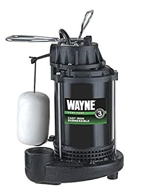 WAYNE CDU800 1/2 HP Submersible Cast Iron and Steel Sump Pump With Integrated Vertical Float Switch