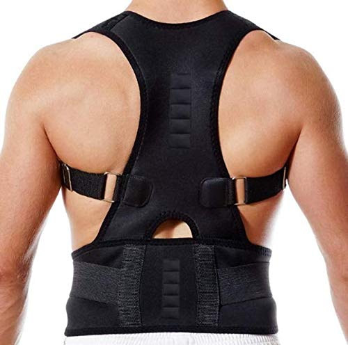 Fully Adjustable Magnetic Back Brace Posture Corrector for Men & Women with Lumbar Support Belt- Best Straightener Trainer Improves Posture, Lower and Upper Back Pain (Magnet, XL)