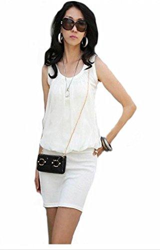 Fashion Sleeveless Pastel Chiffon Jersey Women Casual Mini Dress - White - XL