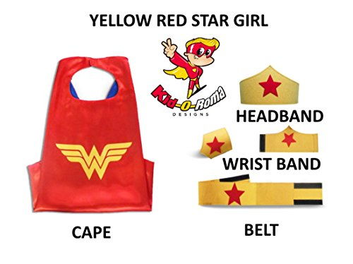Sibling Costumes Kids (Super Hero Capes for Kids Halloween Costumes for Girls 5 Piece Set Fits Ages 4-10 By Kid-O-Roma Designs (Yellow Red Star Girl))
