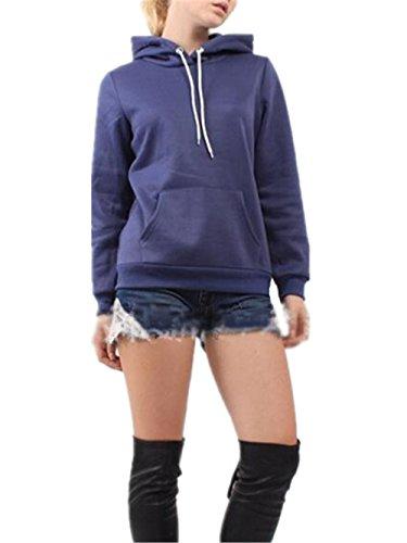 Hoodie Colore Con Tasca Camicia Ailient Slim Blue Classico Sport Felpa Donna Casuale Pullover Hoody Cappuccio Maglia Sweatshirt Cappotto Puro SnxY0q